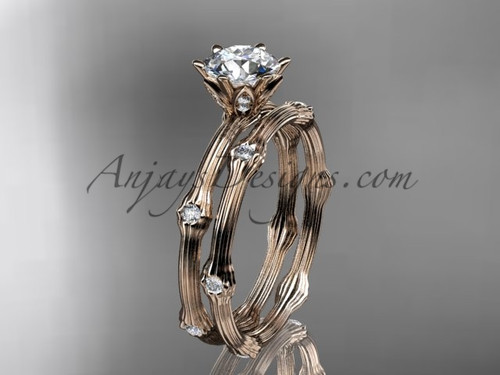 Vine Wedding Ring Set - Rose Gold Moissanite Ring ADLR38S