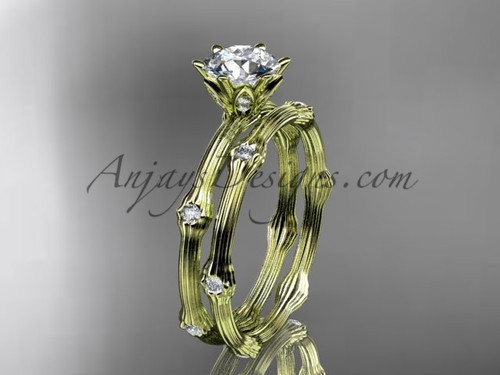 Vine Wedding Ring Set - Yellow Gold Moissanite Ring ADLR38S