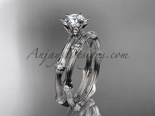 Vine Wedding Ring Set - Platinum Moissanite Ring ADLR38S
