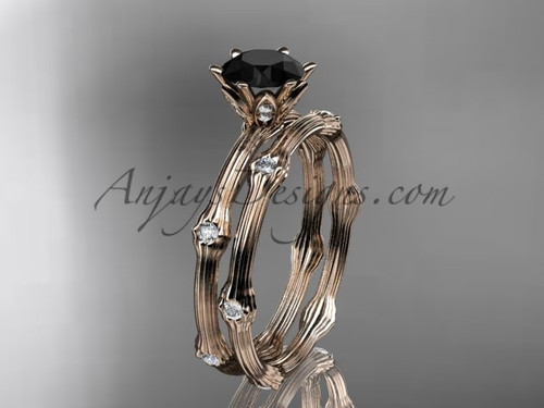 Vine Wedding Ring Set Rose Gold Black Diamond Ring ADLR38S