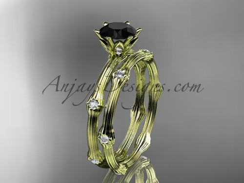 Vine Wedding Ring Set Yellow Gold Black Diamond Ring ADLR38S