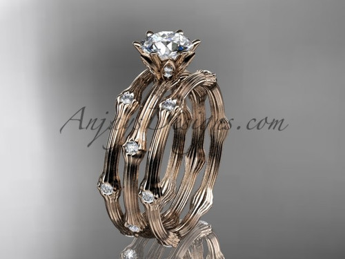 Wedding Sets for Her - Rose Gold Moissanite Ring ADLR38S