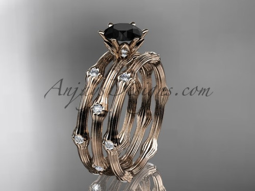 Wedding Sets for Her - Rose Gold Black Diamond Ring ADLR38S
