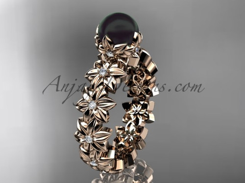 Round Black Pearl Rose Gold Flower Engagement Ring ABP57