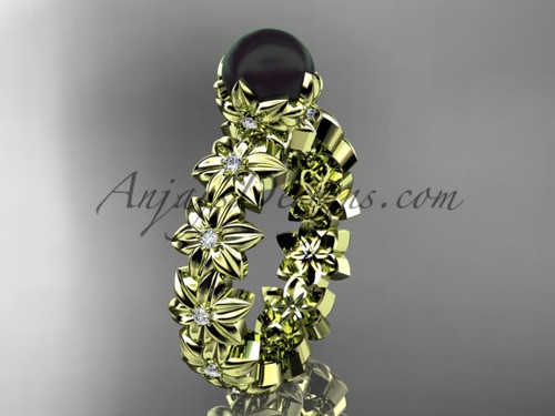 Round Black Pearl Yellow Gold Flower Engagement Ring ABP57