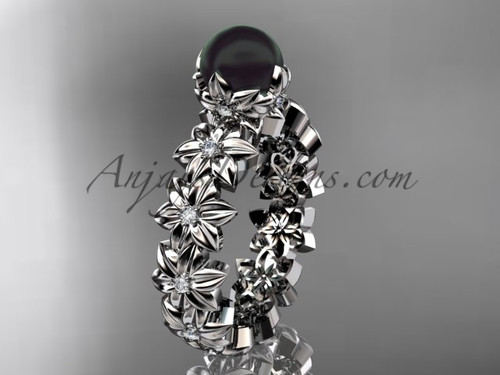 Round Black Pearl White Gold Flower Engagement Ring ABP57