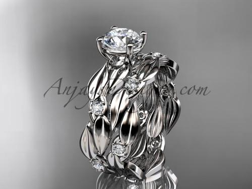 White Sapphire 14kt White Gold Leaf Bridal Set ADLR58S