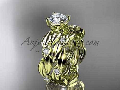 White Sapphire 14kt Yellow Gold Leaf Bridal Set ADLR58S