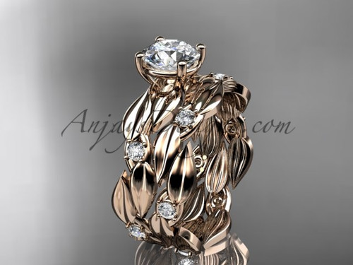 Moissanite 14kt Rose Gold Leaf Bridal Set ADLR58S