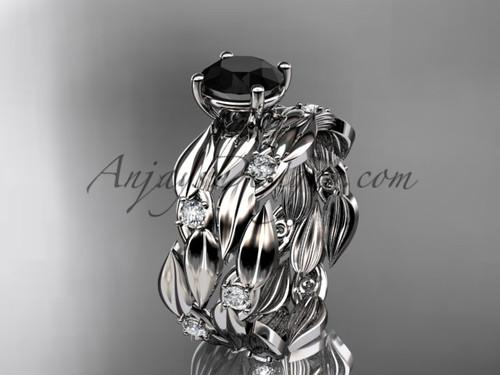 Black Diamond 14kt Rose Gold Leaf Bridal Set ADLR58S