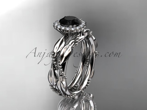 14kt white gold diamond leaf and vine wedding set, engagement set with a Black Diamond center stone ADLR337