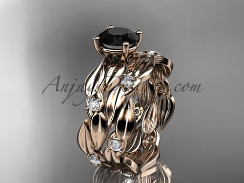 Black Diamond 14kt White Gold Leaf Bridal Set ADLR58S