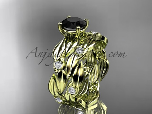 Black Diamond 14kt Yellow Gold Leaf Bridal Set ADLR58S