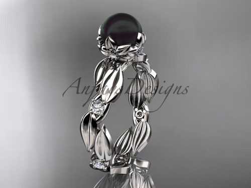 Unique Engagement Ring - White Gold Black Pearl Ring ABP58