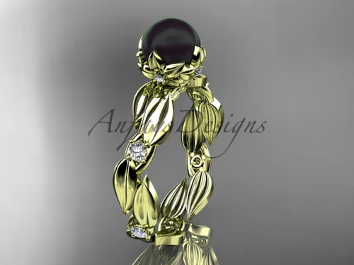 Unique Engagement Ring - Yellow Gold Black Pearl Ring ABP58