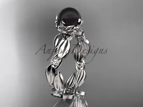Unique Engagement Ring - Platinum Black Pearl Ring ABP58