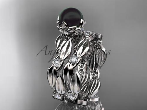 Unique Engagement Set - White Gold Black Pearl Ring ABP58