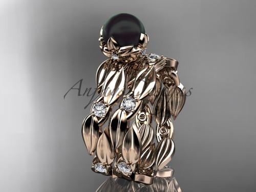 Unique Engagement Set - Rose Gold Black Pearl Ring ABP58S