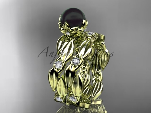 Unique Engagement Set - Yellow Gold Black Pearl Ring ABP58S