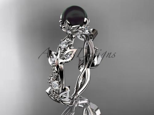 Ladies Engagement Rings -Platinum Black Pearl Ring ABP59