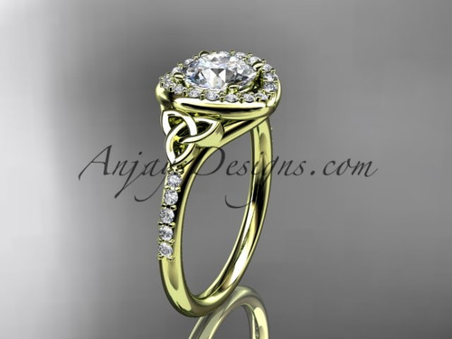 """14kt yellow gold diamond celtic trinity knot wedding ring, engagement ring with a """"Forever One"""" Moissanite center stone CT7201"""