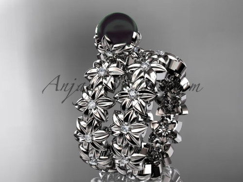 Round Black Pearl White Gold Flower Engagement Set ABP57S