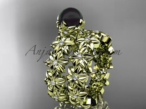 Round Black Pearl Yellow Gold Flower Engagement Set ABP57S
