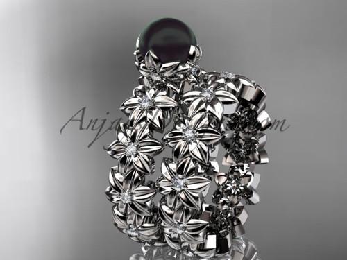 Round Black Pearl Platinum Flower Engagement Set ABP57S