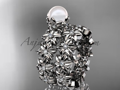 Round Pearl Platinum Flower Engagement Set AP57S