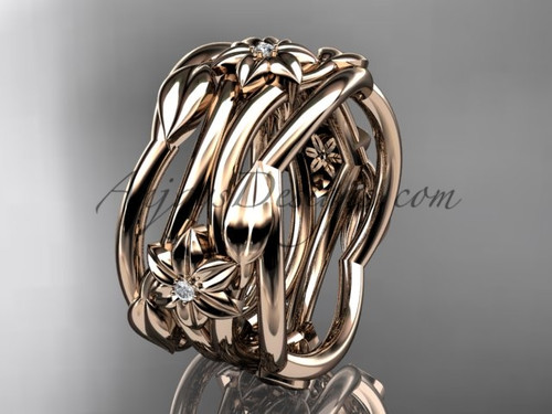 Rose Gold Diamond Flower Handmade Wedding Ring ADLR523B