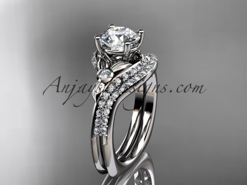 """14kt white gold diamond leaf and vine engagement ring set with a """"Forever One"""" Moissanite center stone ADLR112S"""