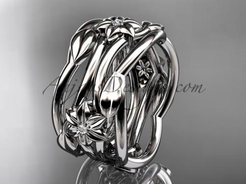 Platinum Diamond Flower Handmade Wedding Ring ADLR523B