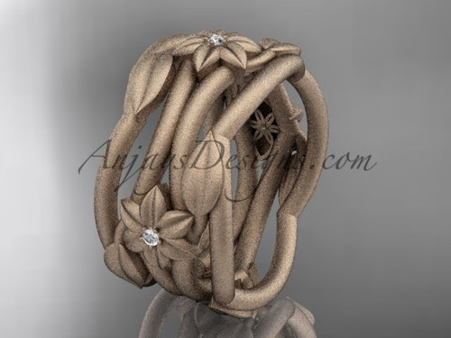 Rose Gold Matte Finish Leaf  Handmade Wedding Ring ADLR523B