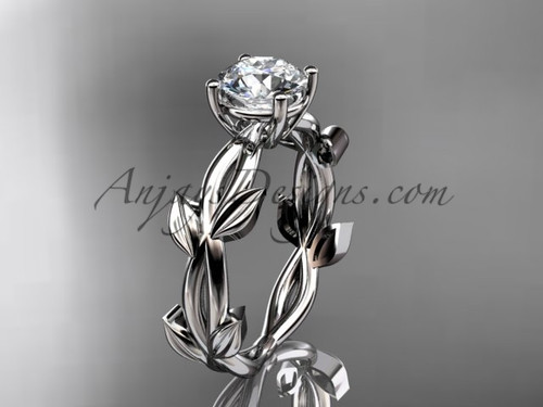 Unique White Gold Vine and Leaf Engagement Ring ADLR522