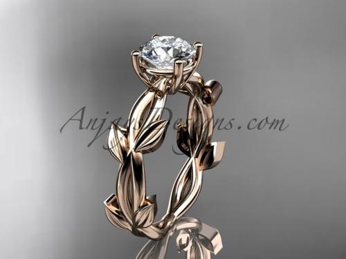 Unique Rose Gold Vine and Leaf Engagement Ring ADLR522