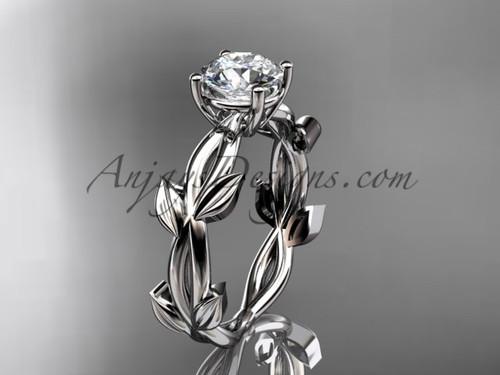Unique Platinum Vine and Leaf Engagement Ring ADLR522