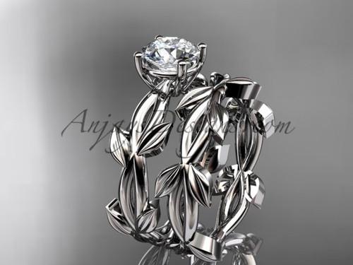 Unique White Gold Vine and Leaf Wedding Ring Set ADLR522S