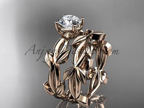 Unique Rose Gold Vine and Leaf Wedding Ring Set ADLR522S