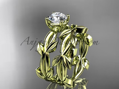 Unique Yellow Gold Vine and Leaf Bridal Ring Set ADLR522S