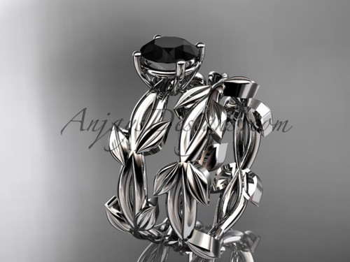 Unique 14k white gold Black Diamond Leaf Bridal Set ADLR522S