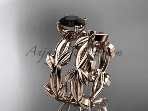Unique 14k rose gold Black Diamond Leaf Bridal Set ADLR522S