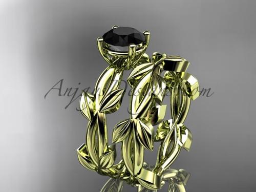 Unique Yellow Gold Black Diamond Leaf Wedding Set ADLR522S