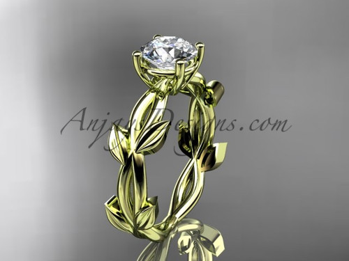 Unique Yellow Gold Moissanite Leaf Engagement Ring ADLR522