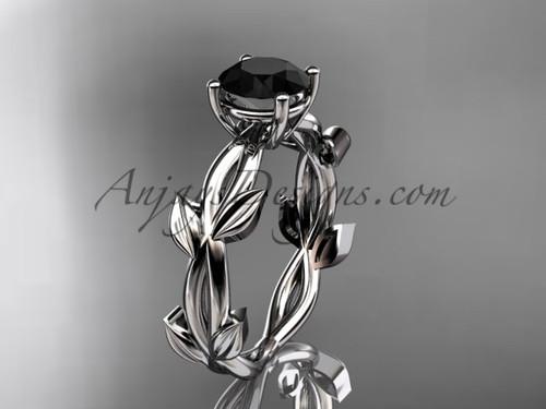 Unique White Gold Black Diamond Vine Wedding Ring ADLR522