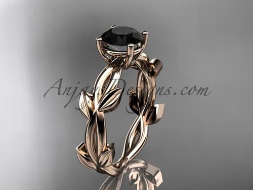 Unique Rose Gold Black Diamond Vine Wedding Ring ADLR522