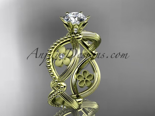 """14kt yellow gold diamond floral wedding ring, engagement ring with a """"Forever One"""" Moissanite center stone ADLR192"""