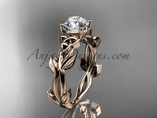 Handmade Celtic Engagement Rose Gold Moissanite Ring CT7522