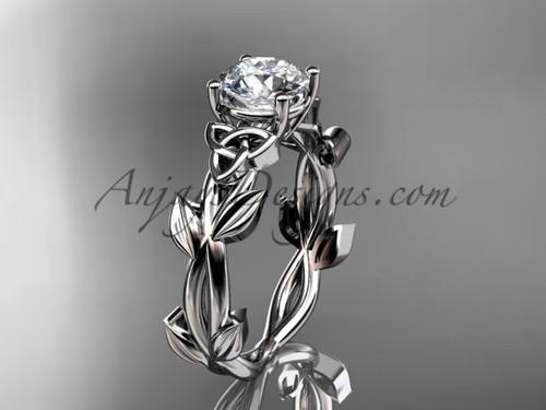 Handmade Celtic Engagement Platinum Moissanite Ring CT7522