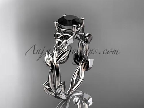 Handmade Celtic Bridal White Gold Black Diamond Ring CT7522