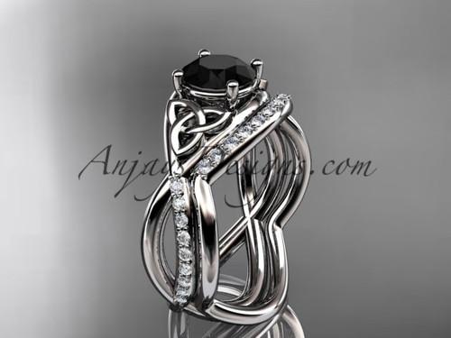 platinum celtic trinity knot engagement set, wedding ring with a Black Diamond center stone CT790S